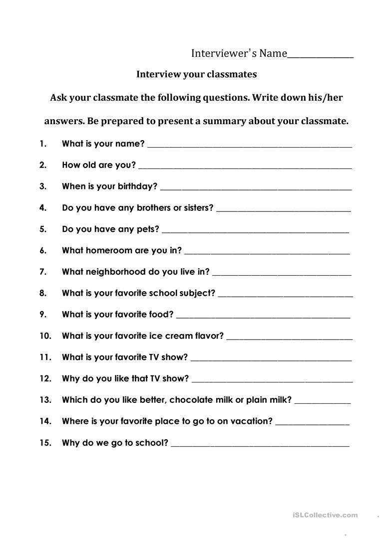 Interviewing Your Classmates Worksheet - Free Esl Printable - Free Printable Esl Worksheets For High School
