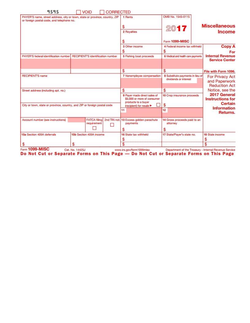 Irs 1099 Misc Form - Free Download, Create, Fill And Print - Free Printable 1099 Misc Forms