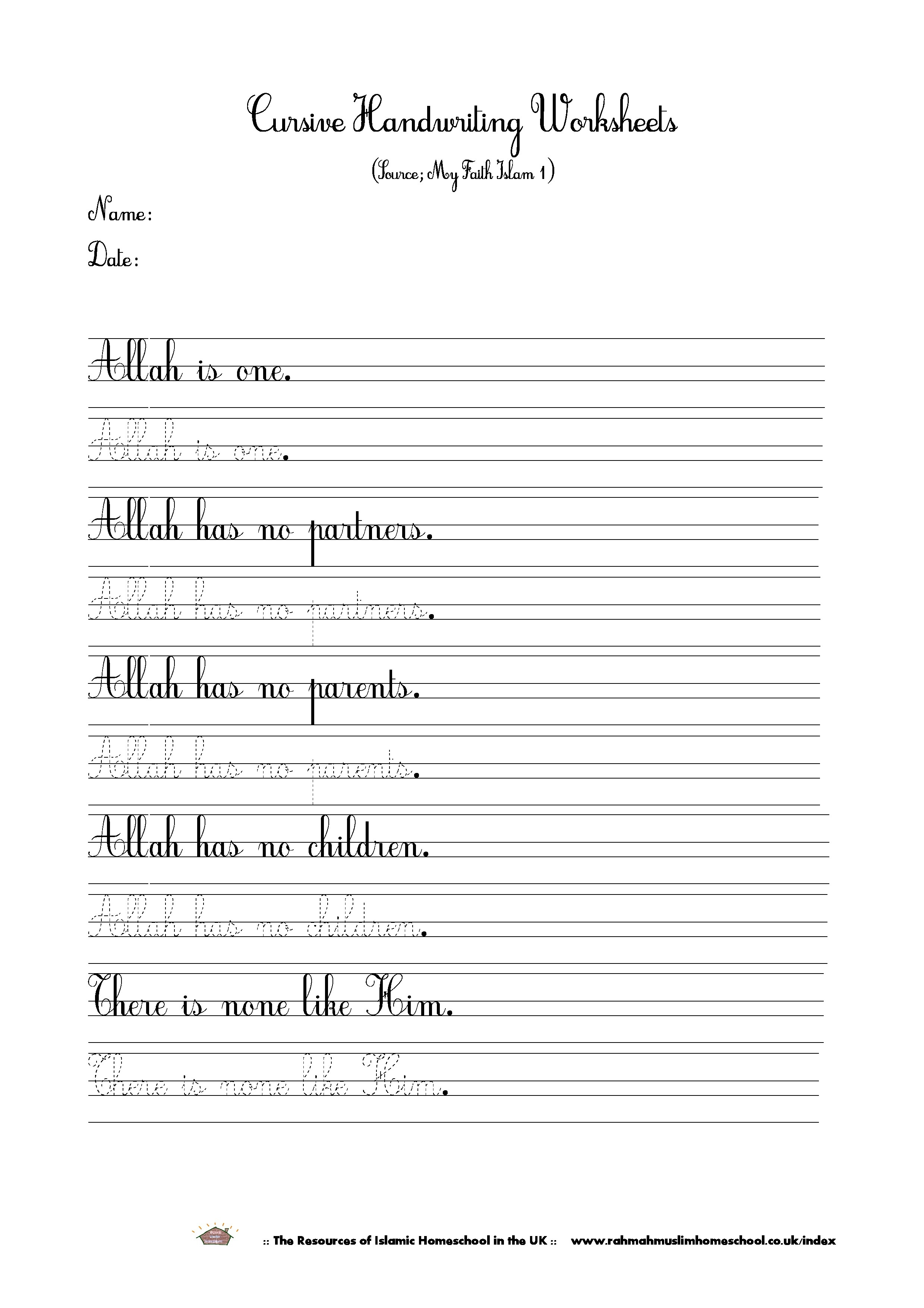 Islamic Cursive Handwriting Worksheet About Tawheed/tauhid | The - Free Printable Script Writing Worksheets