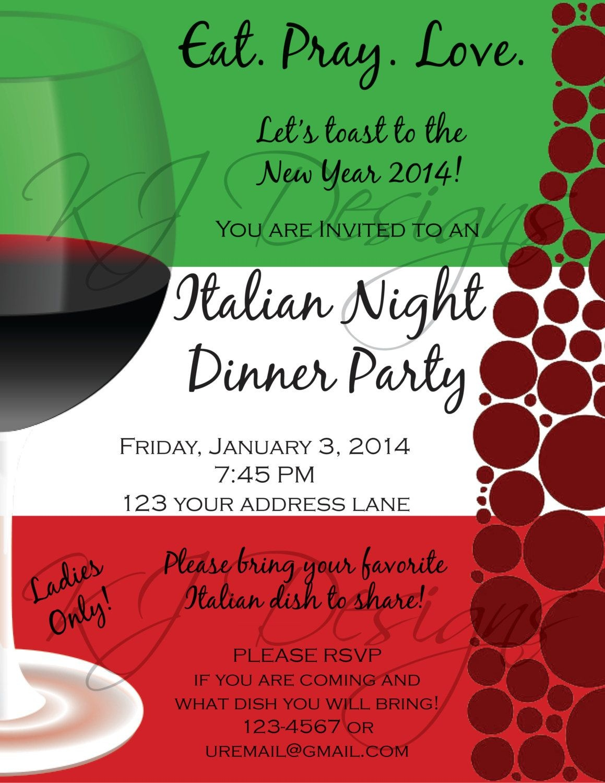 Italian Dinner Party Invitation Template | Parties | Dinner Party - Free Printable Italian Dinner Invitations