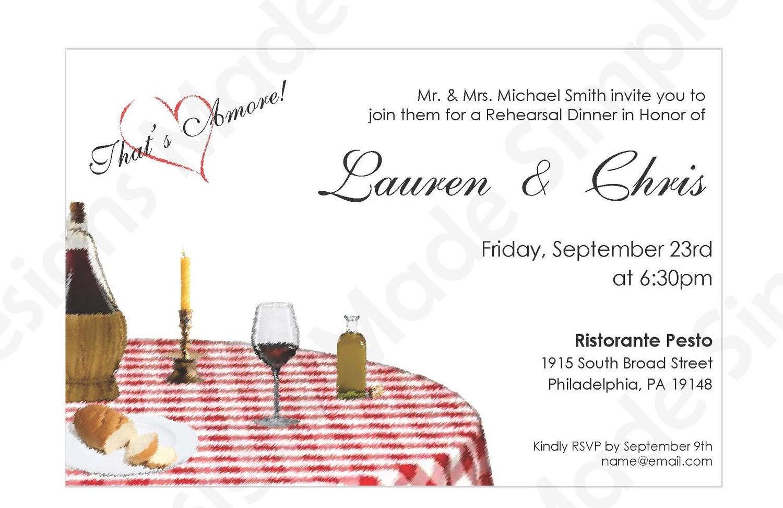Italian Rehearsal Dinner Invitation Printable | Etsy - Free Printable Italian Dinner Invitations