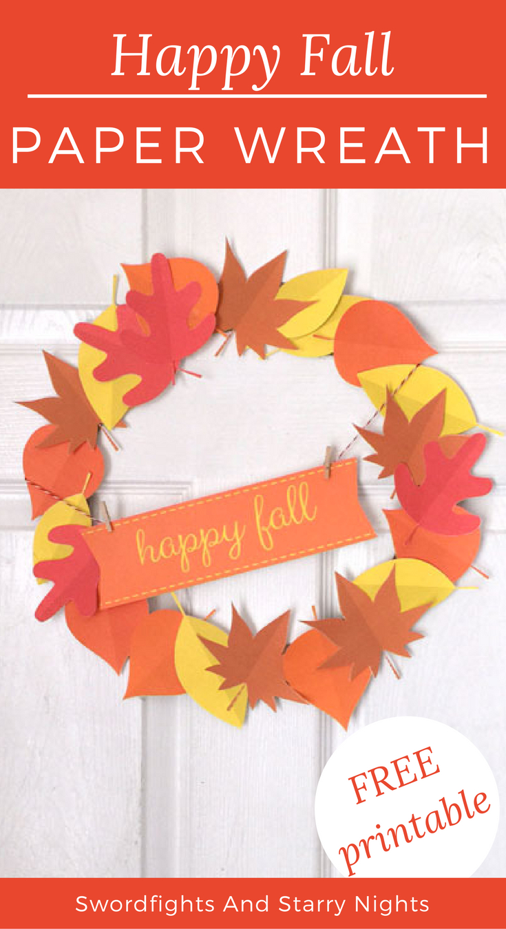 It's Easy To Make Your Own Happy Fall Paper Wreath! Free Printable - Free Printable Autumn Paper