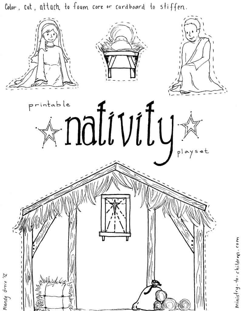 "Jesus In The Manger"" Coloring Pages - Nativity Playset Craft - Free Printable Christmas Plays For Sunday School"