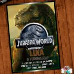 Jurassic World Invitation Printable With Free Thank You Card | Etsy   Free Printable Jurassic Park Invitations
