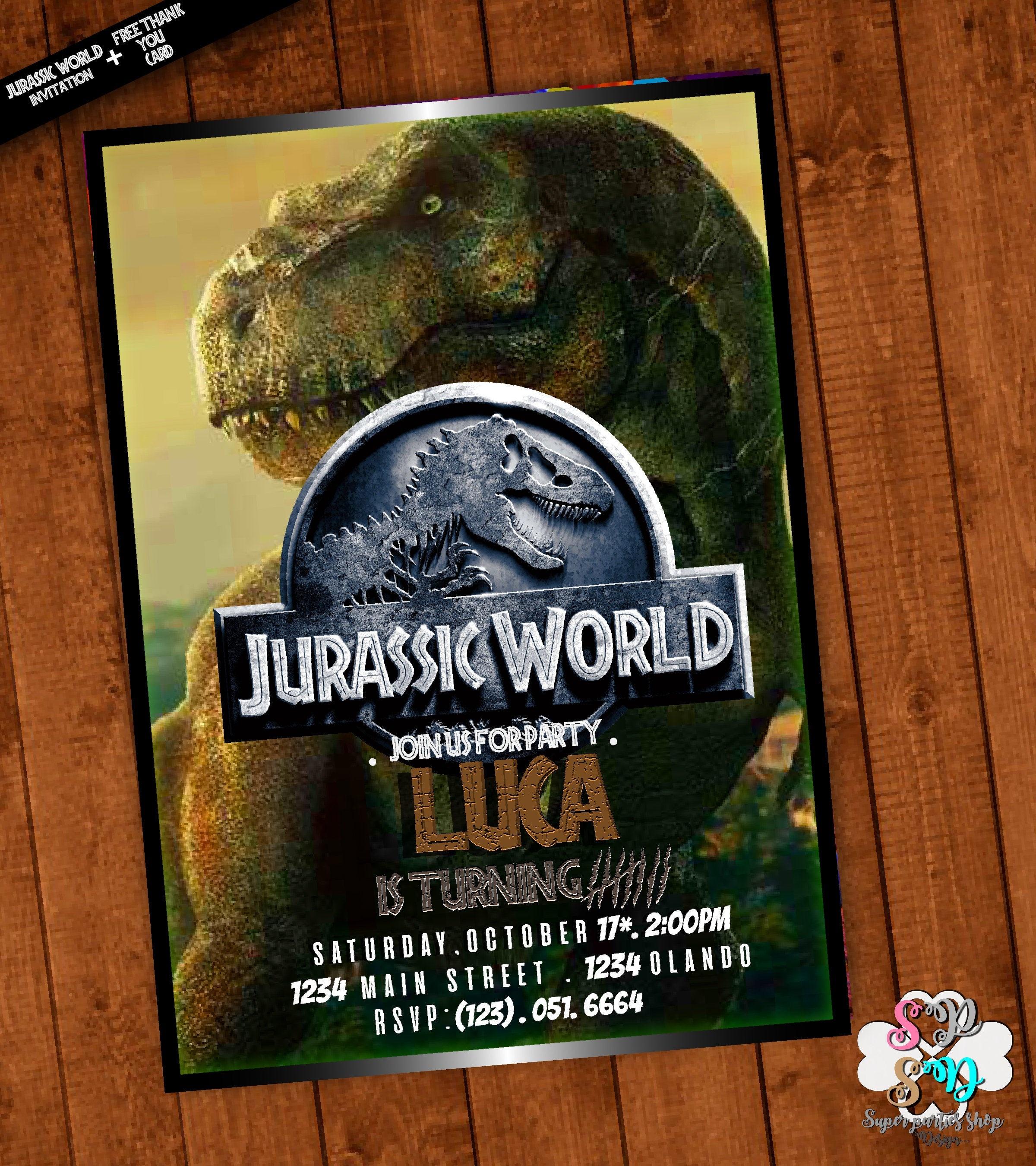 Jurassic World Invitation Printable With Free Thank You Card | Etsy - Free Printable Jurassic Park Invitations