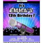 Karaoke Birthday Invitation In 2019 | Kenzi's 8Th Kareoke Birthday   Free Printable Karaoke Party Invitations