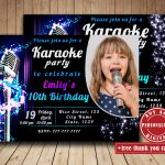 Karaoke Birthday Party Invitation With Photo Singing Party | Etsy   Free Printable Karaoke Party Invitations