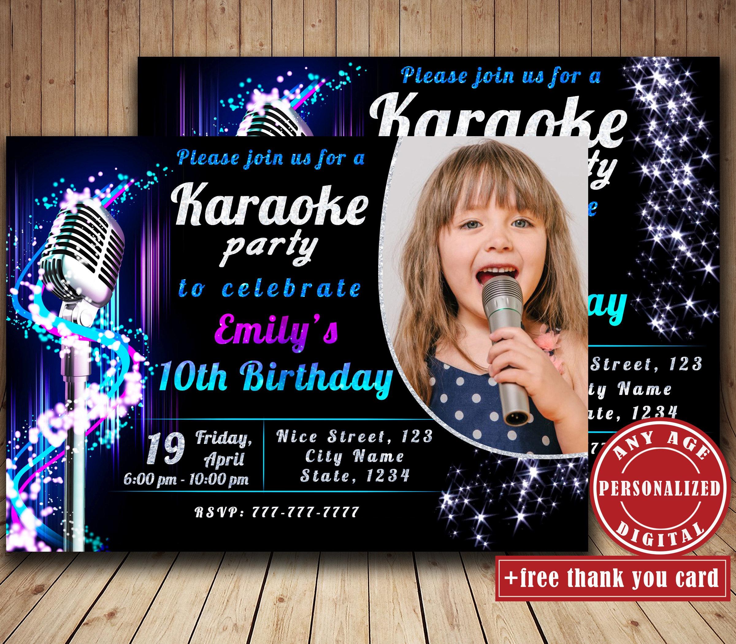 Karaoke Birthday Party Invitation With Photo Singing Party   Etsy - Free Printable Karaoke Party Invitations