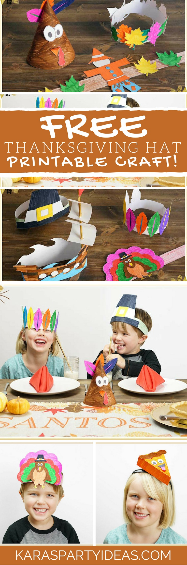 Kara's Party Ideas Free Thanksgiving Hat Printable Crafts | Kara's - Free Printable Thanksgiving Hats