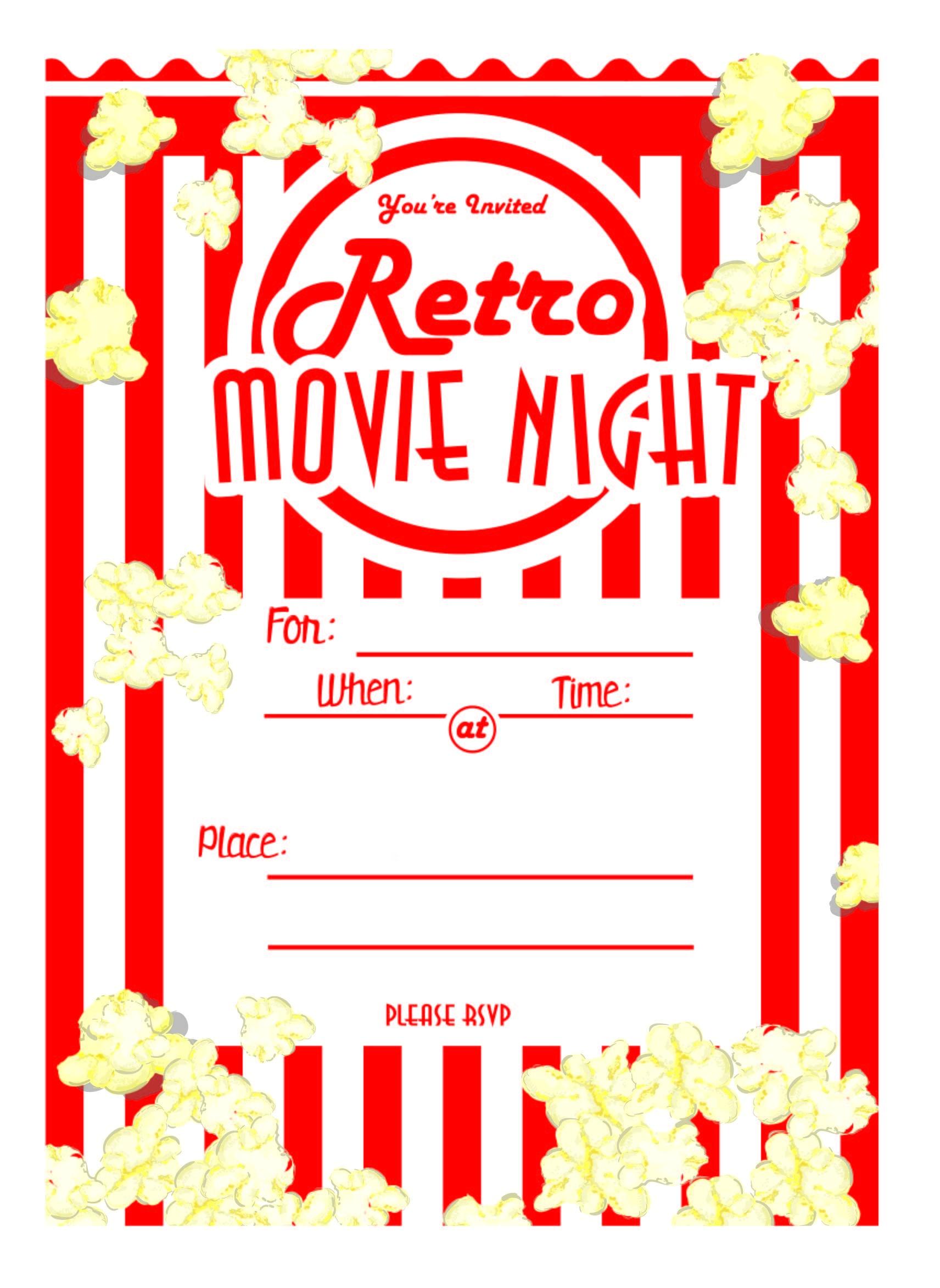 Kara's Party Ideas Movie Night Party With Free Printables!   Kara's - Movie Night Birthday Invitations Free Printable