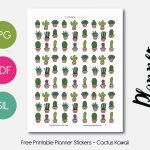 Kawaii Cactus – Planner Addiction   Free Printable Kawaii Stickers