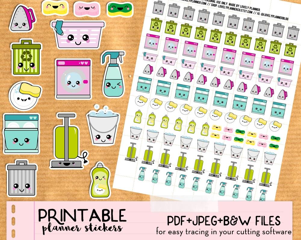 Kawaii Trash Bins Stickers - Free Printable And Cut File - Lovely - Chore Stickers Free Printable