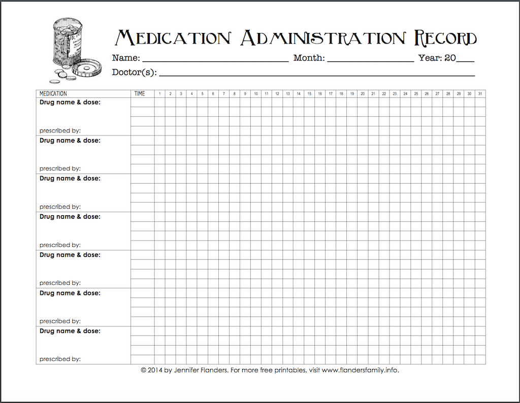 Keeping Track Of Medications {Free Printable Chart} - Flanders - Free Printable Medication Chart