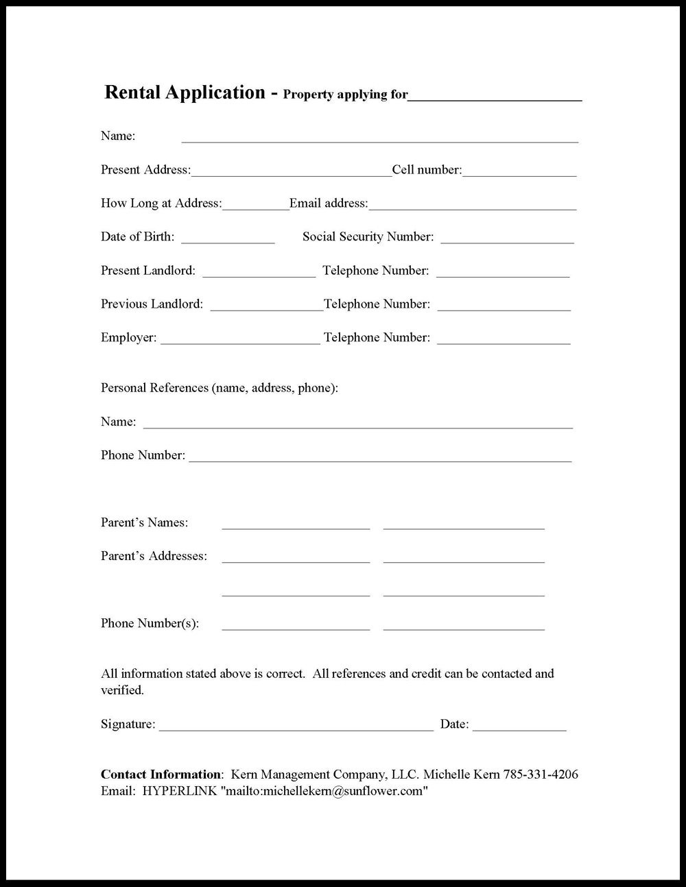 Kern Management | Houses For Rent | Forms/rentail Application - Free Printable House Rental Application Form