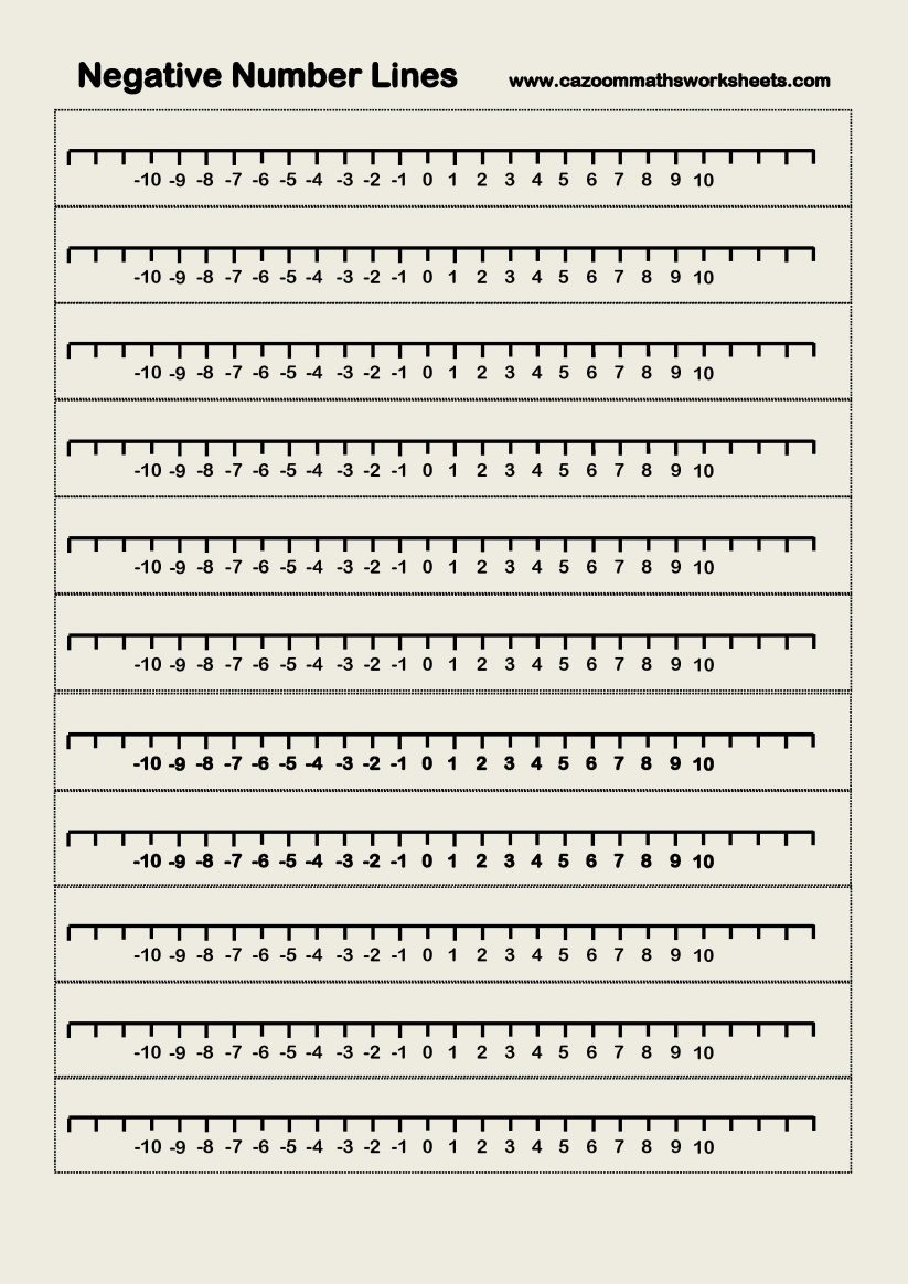 This is a graphic of Free Printable Number Line for fraction