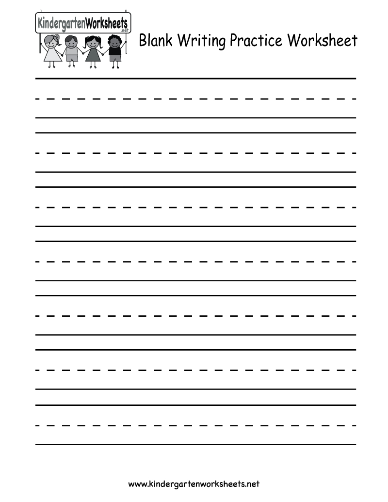 Kindergarten Blank Writing Practice Worksheet Printable | Writing - Blank Handwriting Worksheets Printable Free