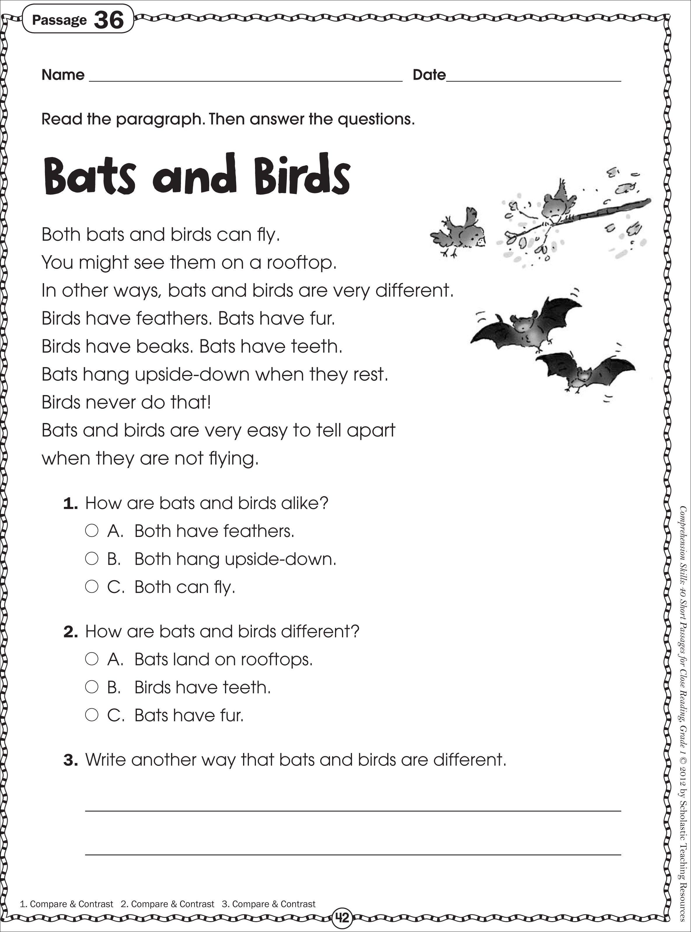 Kindergarten: Free Printable Kindergarten Reading Worksheets. Year 1 - Free Printable Reading Passages For 3Rd Grade