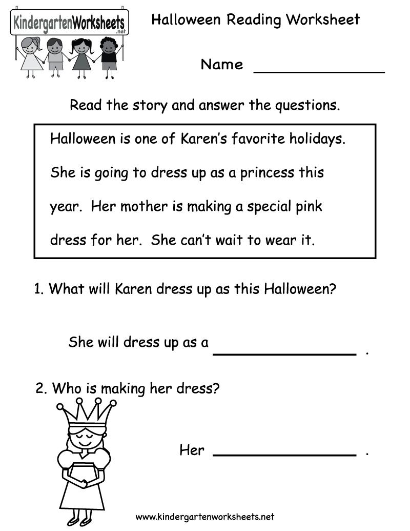 Kindergarten Halloween Reading Worksheet Printable | Free Halloween - Free Printable Reading Activities For Kindergarten