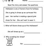 Kindergarten Halloween Reading Worksheet Printable | Free Halloween   Free Printable Reading Worksheets