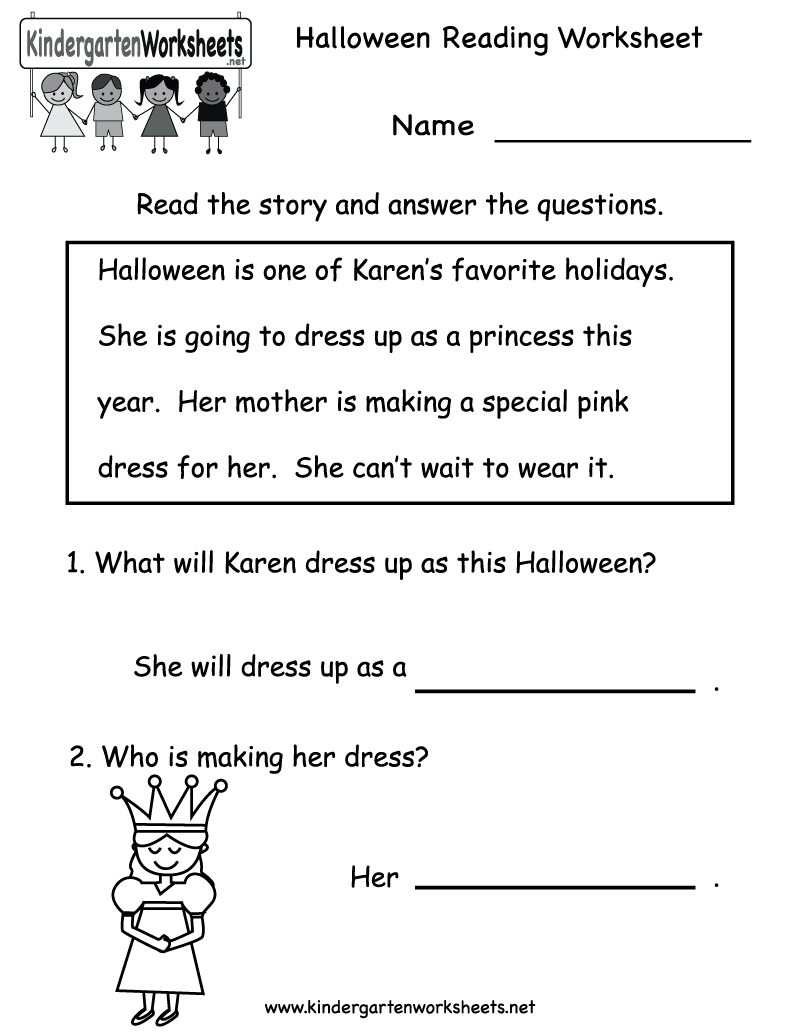 Kindergarten Halloween Reading Worksheet Printable | Free Halloween - Free Printable Reading Worksheets