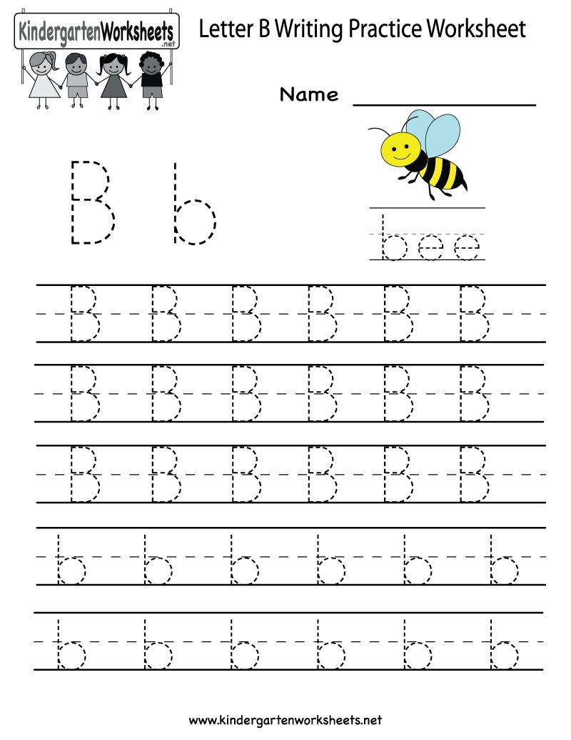 Kindergarten Letter B Writing Practice Worksheet Printable | Things - Free Printable Worksheets Handwriting Practice