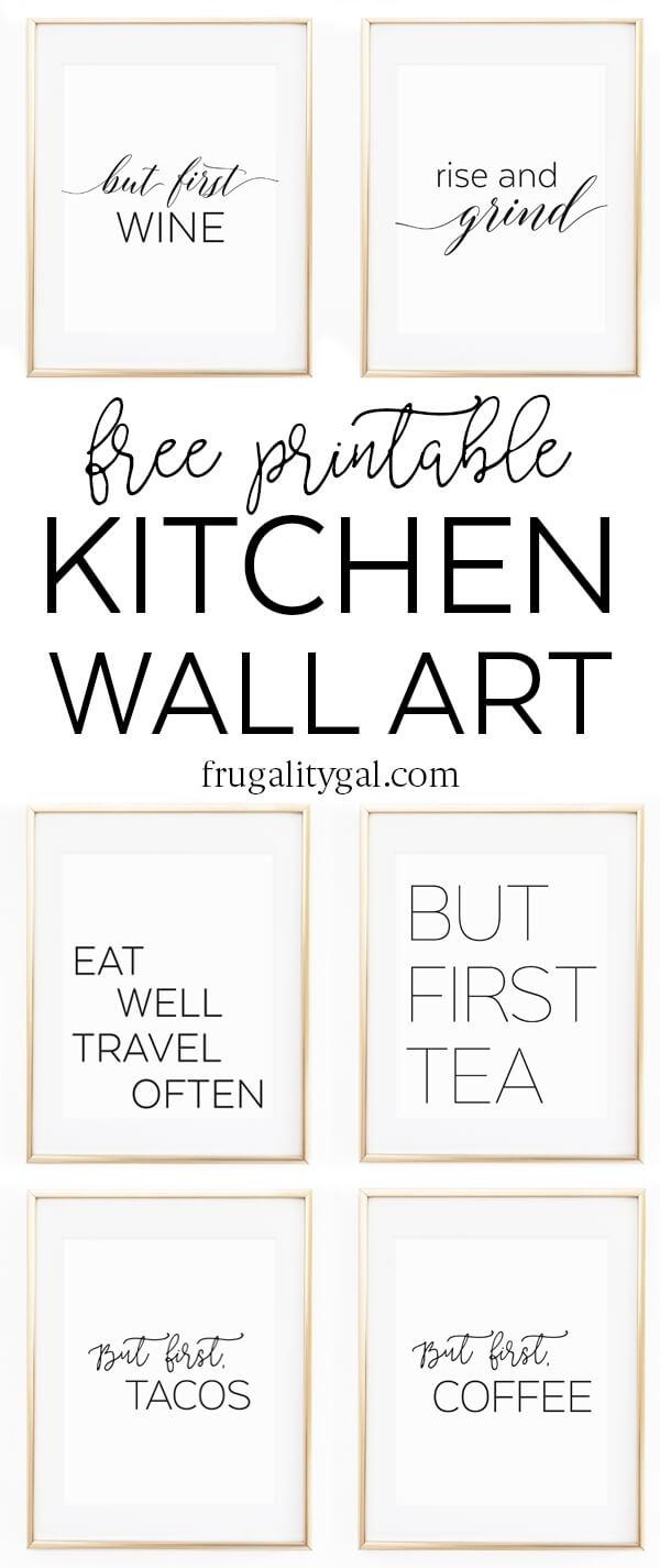 "Kitchen Wall Art - 8X10"" Set Of Six Prints - Free Printable - Free Printable Wall Art 8X10"