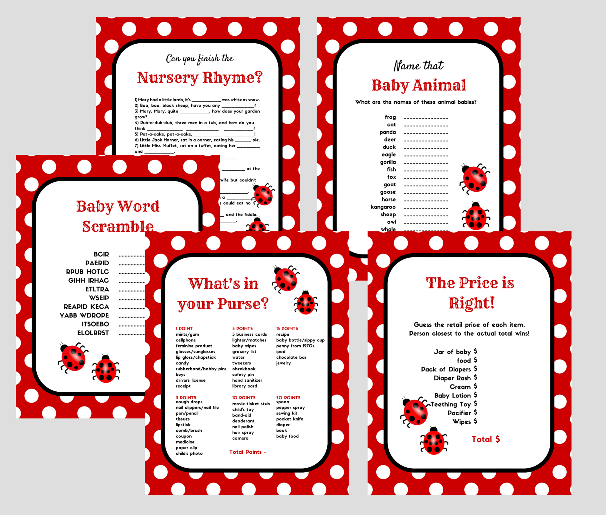 Ladybug Printable Baby Shower Games In 2019 | Baby Shower Ladybug - Free Printable Mickey Mouse Baby Shower Games