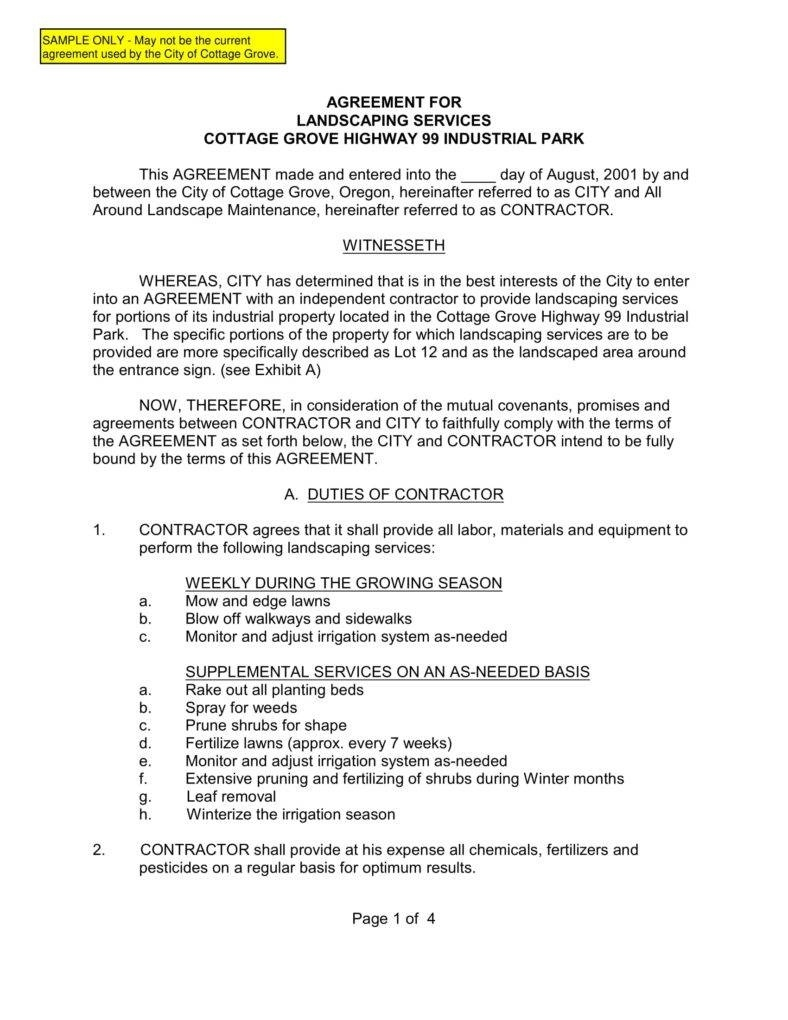 Landscaping Contract Examples - Demir.iso-Consulting.co - Free Printable Snow Removal Contract