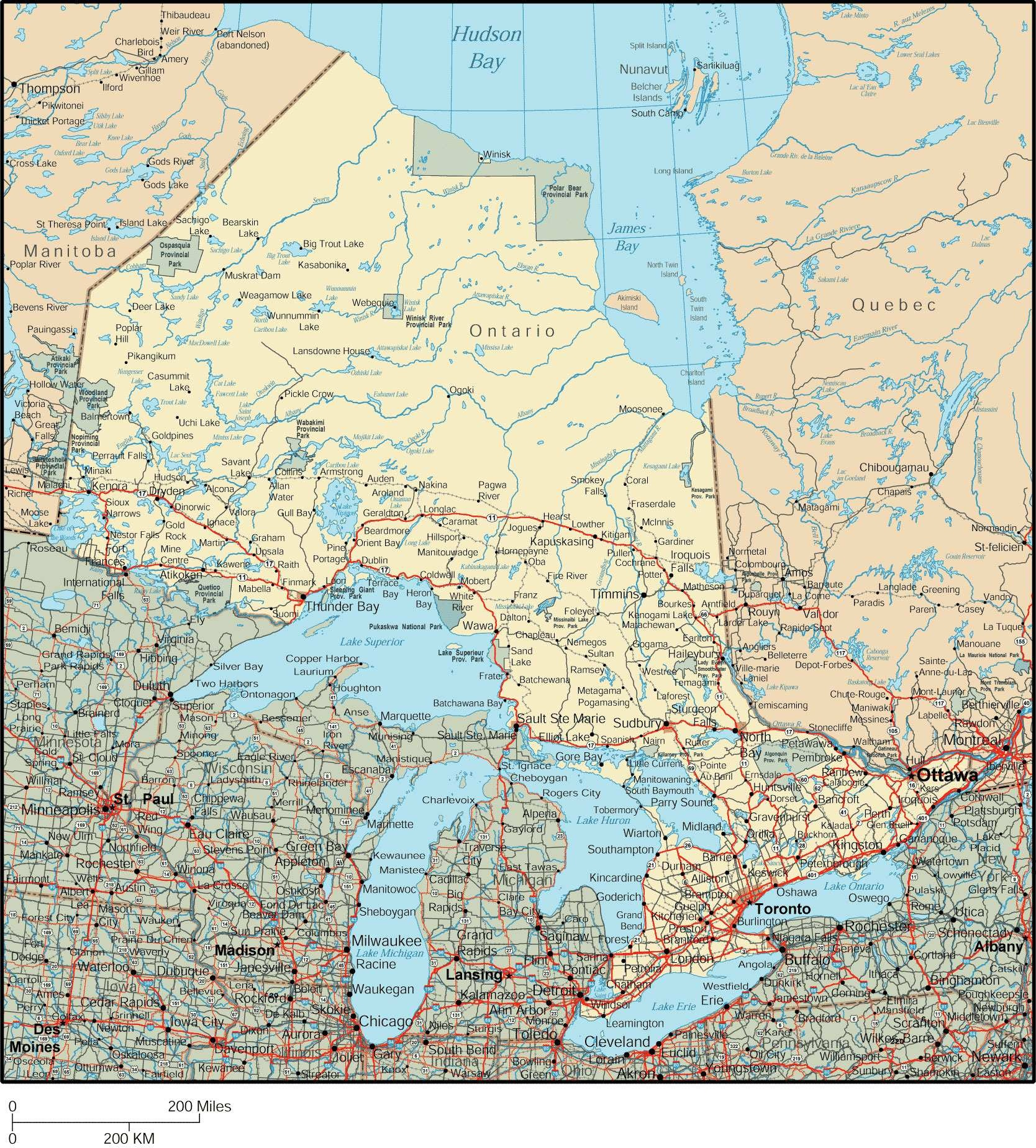Large Ontario Town Maps For Free Download And Print | High - Free Printable Map Of Ontario
