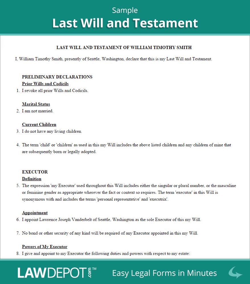 Last Will & Testament Form | Free Last Will (Us) | Lawdepot - Free Printable Basic Will