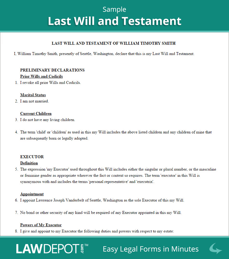 Last Will & Testament Form | Free Last Will (Us) | Lawdepot - Free Printable Living Will Forms Washington State