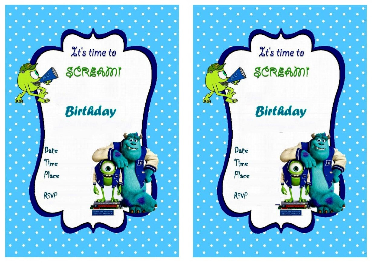 Latest Of Monster Birthday Party Invitations Free Free Printable The - Free Printable Monsters Inc Birthday Invitations