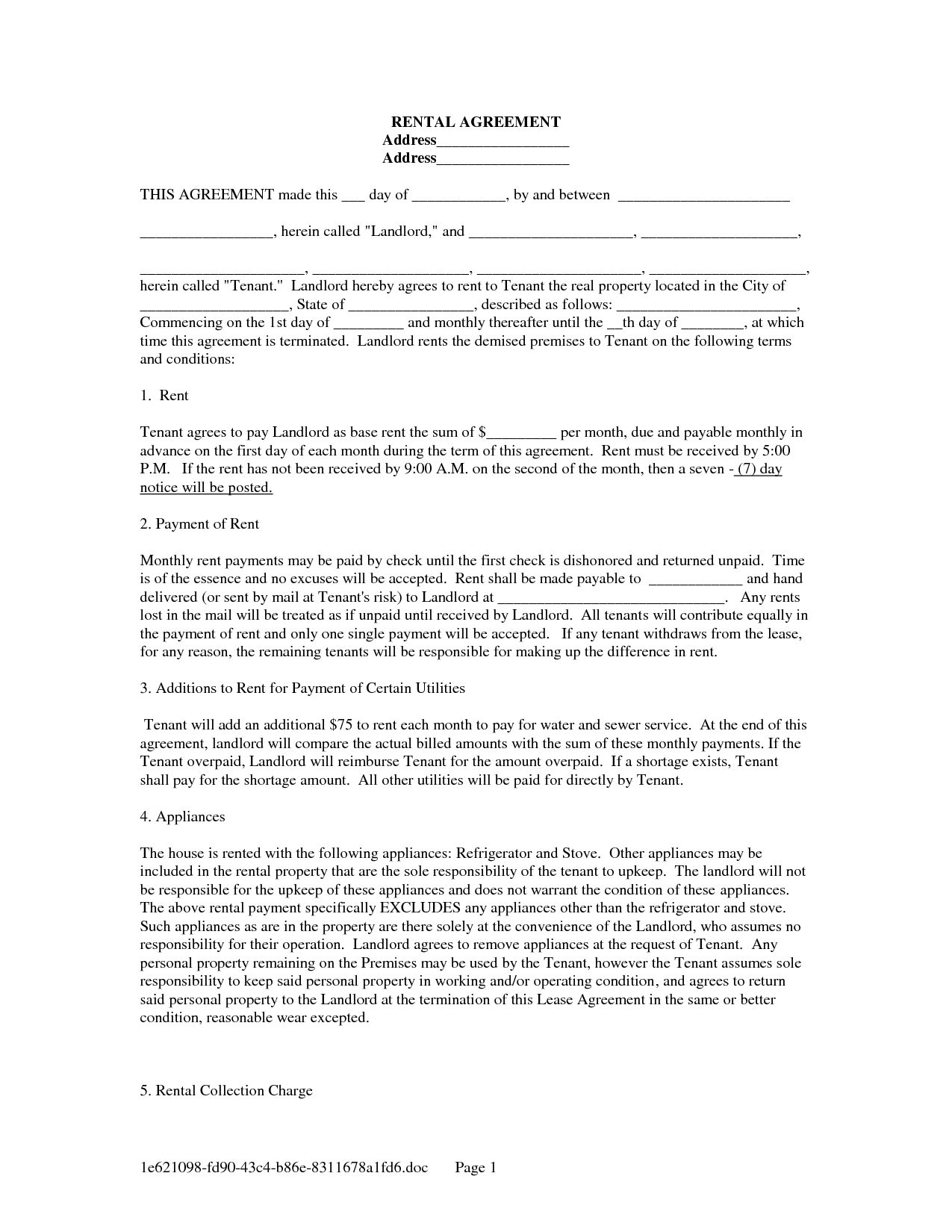 Lease Agreement Form Free | Free Landlord Tenant Lease Agreement - Blank Lease Agreement Free Printable