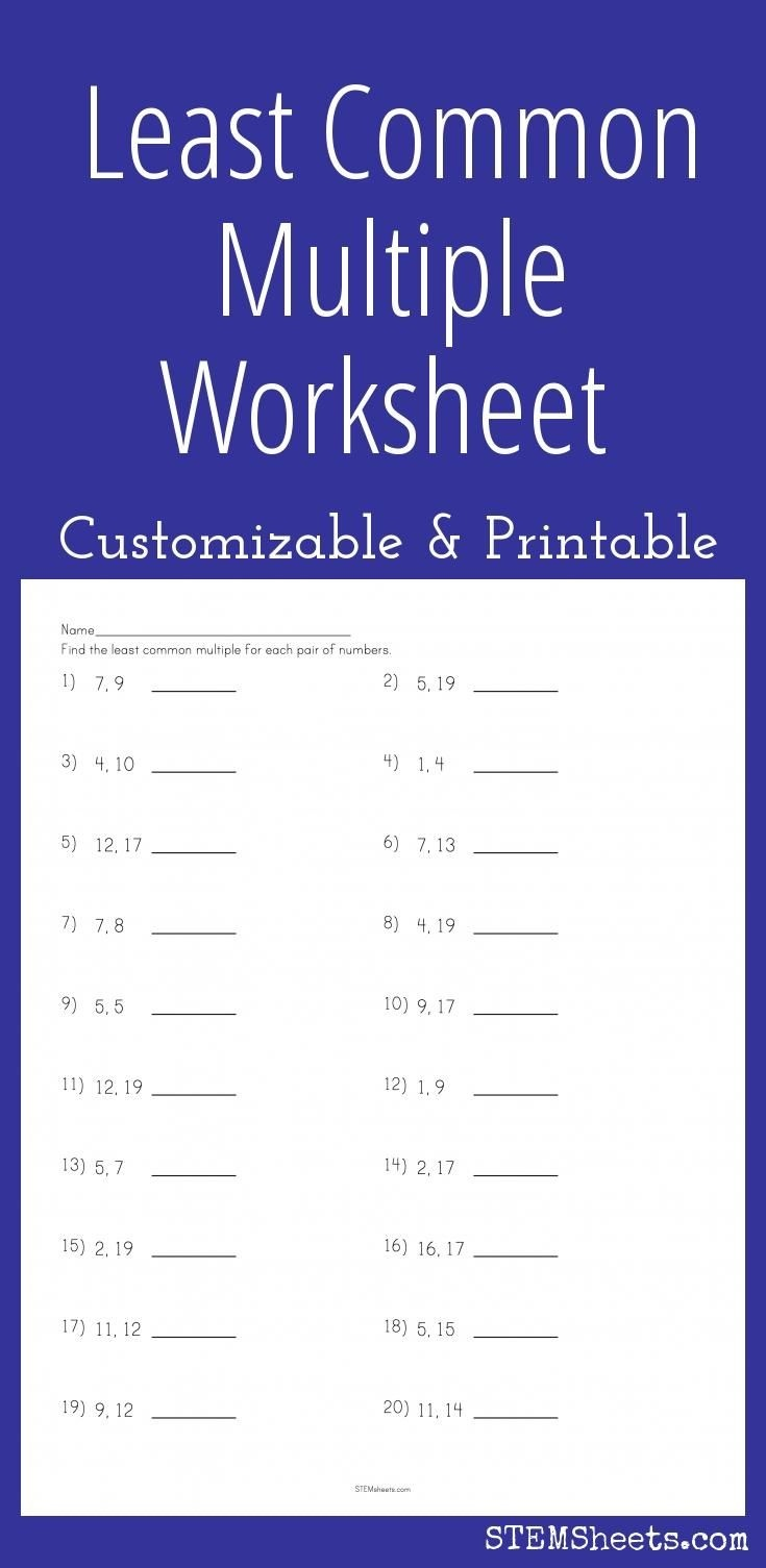 Least Common Multiple Worksheet - Customizable And Printable | Math - Free Printable Lcm Worksheets