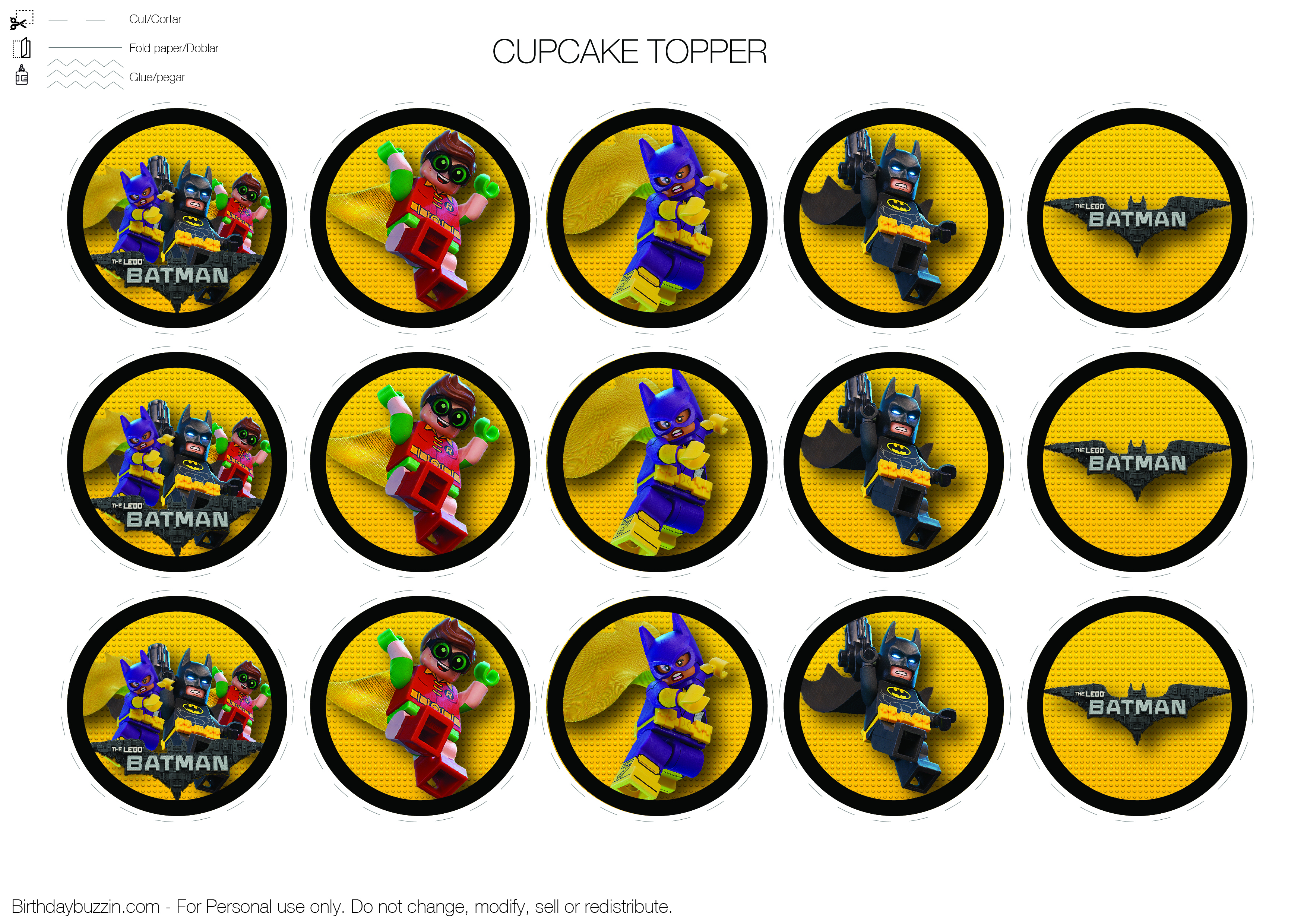 Lego-Batman-Cupcake-Topper   Birthday Buzzin - Free Printable Lego Batman
