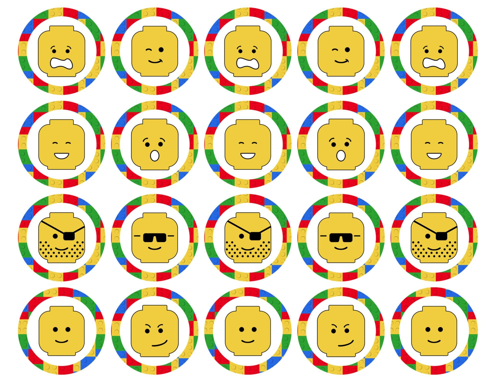 Lego Cupcake Toppers Printable - Paper Trail Design - Free Printable Lego Cupcake Toppers