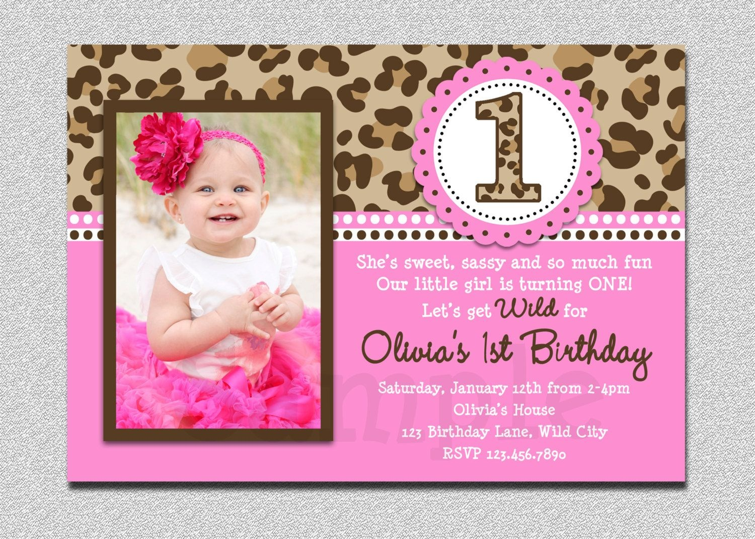 Leopard Birthday Invitation , 1St Birthday Party Invitation - Free Printable Cheetah Birthday Invitations
