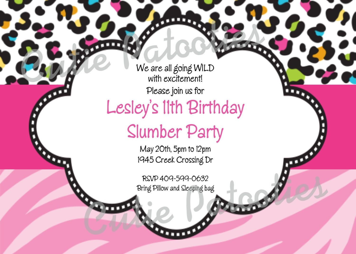 Leopard Print Birthday Invitation Cheetahcutiestiedyeboutique - Free Printable Cheetah Birthday Invitations