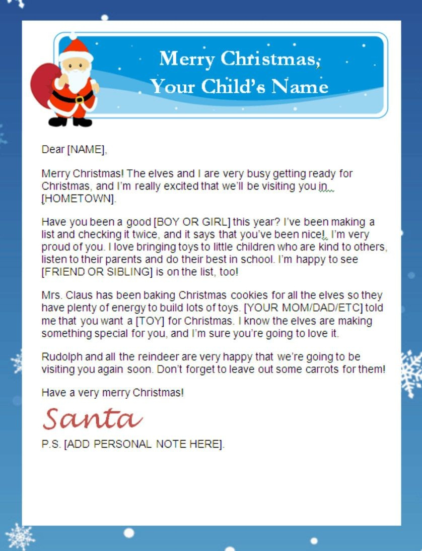 Letter From Santa Templates Free   Printable Santa Letters - Free Printable Letter From Santa Template