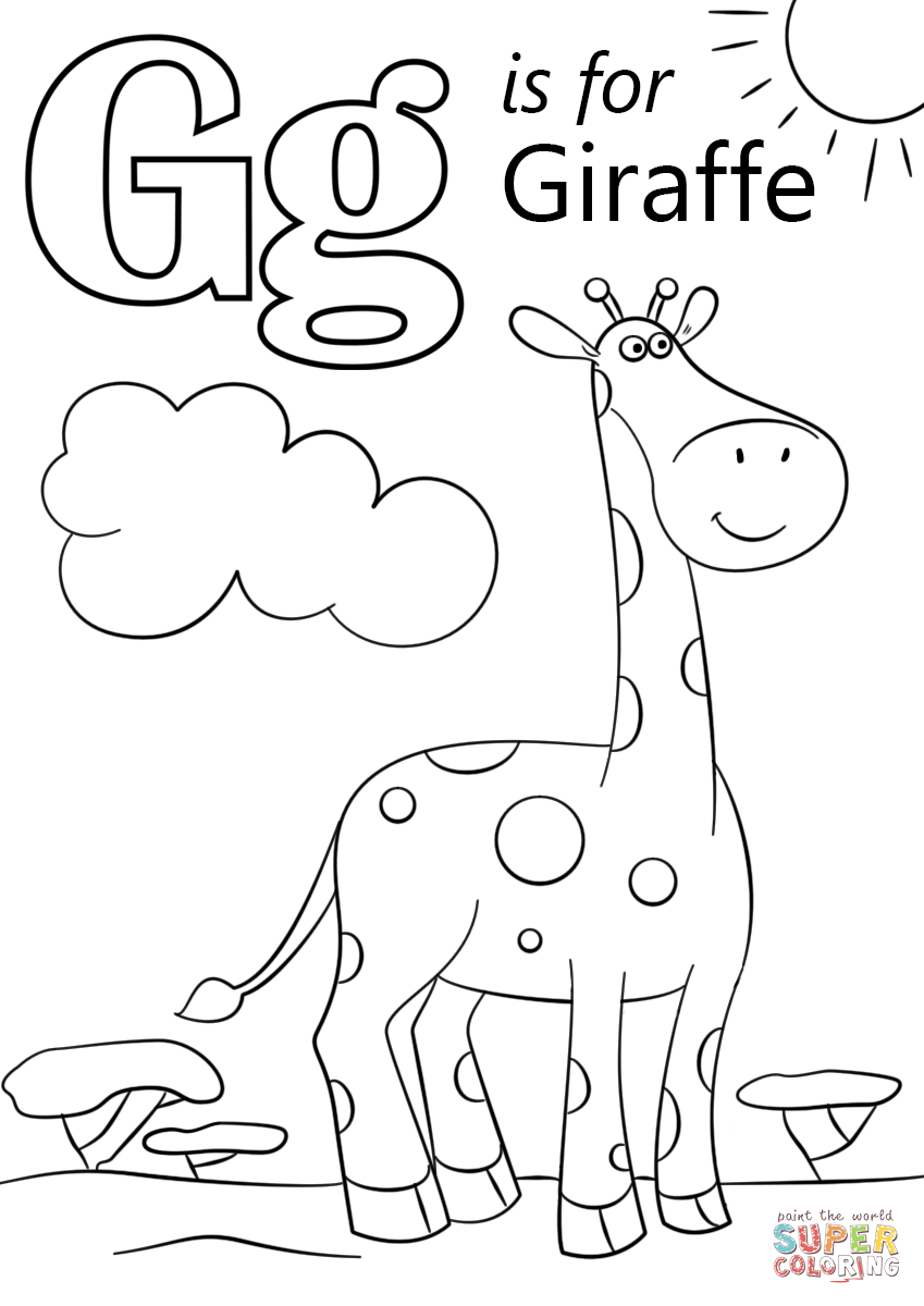 Letter G Is For Giraffe | Super Coloring | Alaphbet Crafts - Free Printable Letter G Coloring Pages