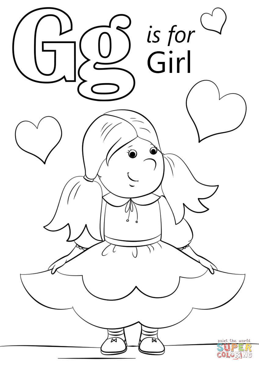 Letter G Is For Girl Coloring Page | Free Printable Coloring Pages - Free Printable Letter G Coloring Pages