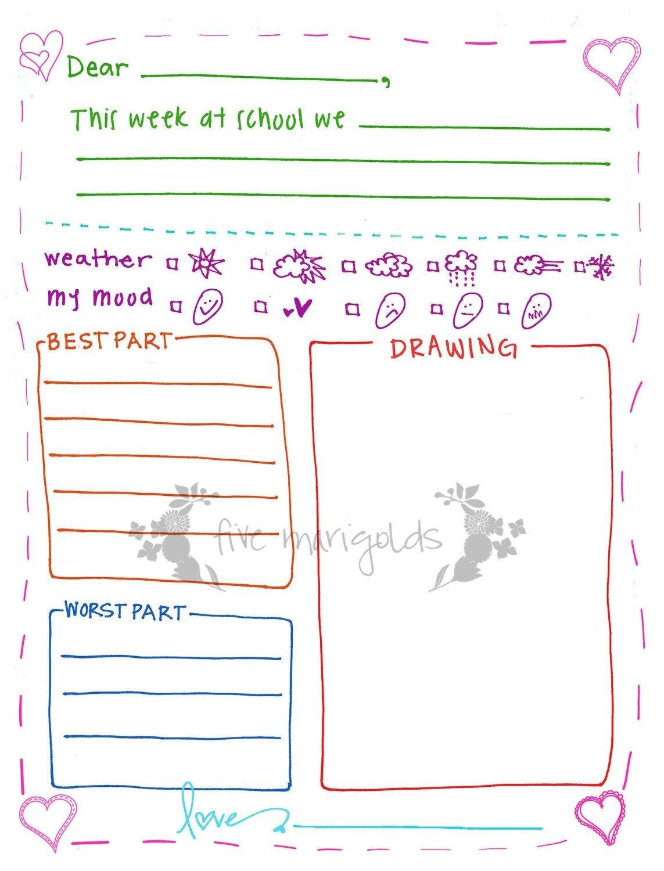 Letter To Grandma Printable Template Girl | Five Marigolds - Free Printable Letter Writing Templates