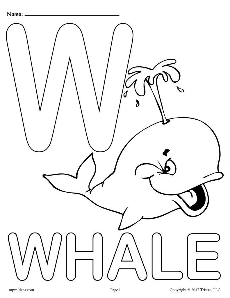 Letter W Alphabet Coloring Pages - 3 Free Printable Versions - Free Printable Preschool Alphabet Coloring Pages