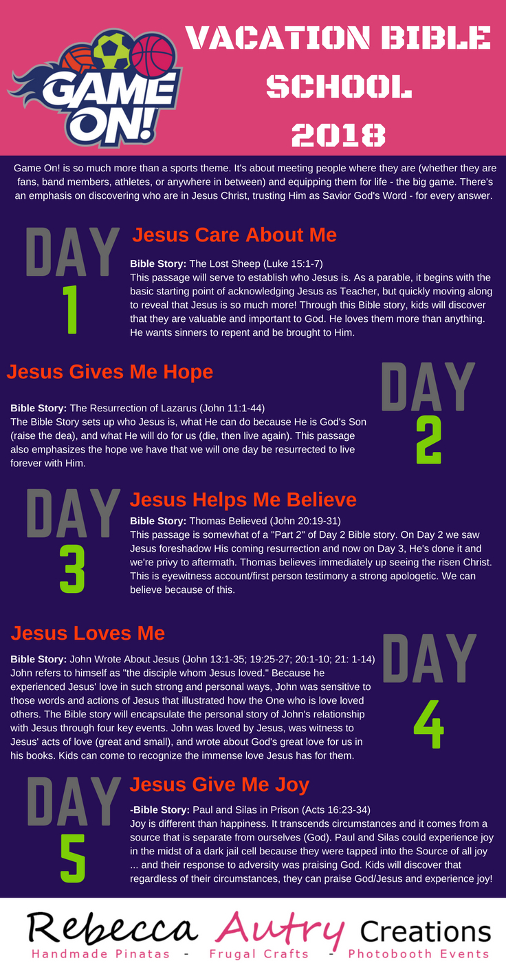 Lifeway Vbs 2018 Game On Bible Study Lessons Overview. Click Each - Free Printable Vacation Bible School Materials