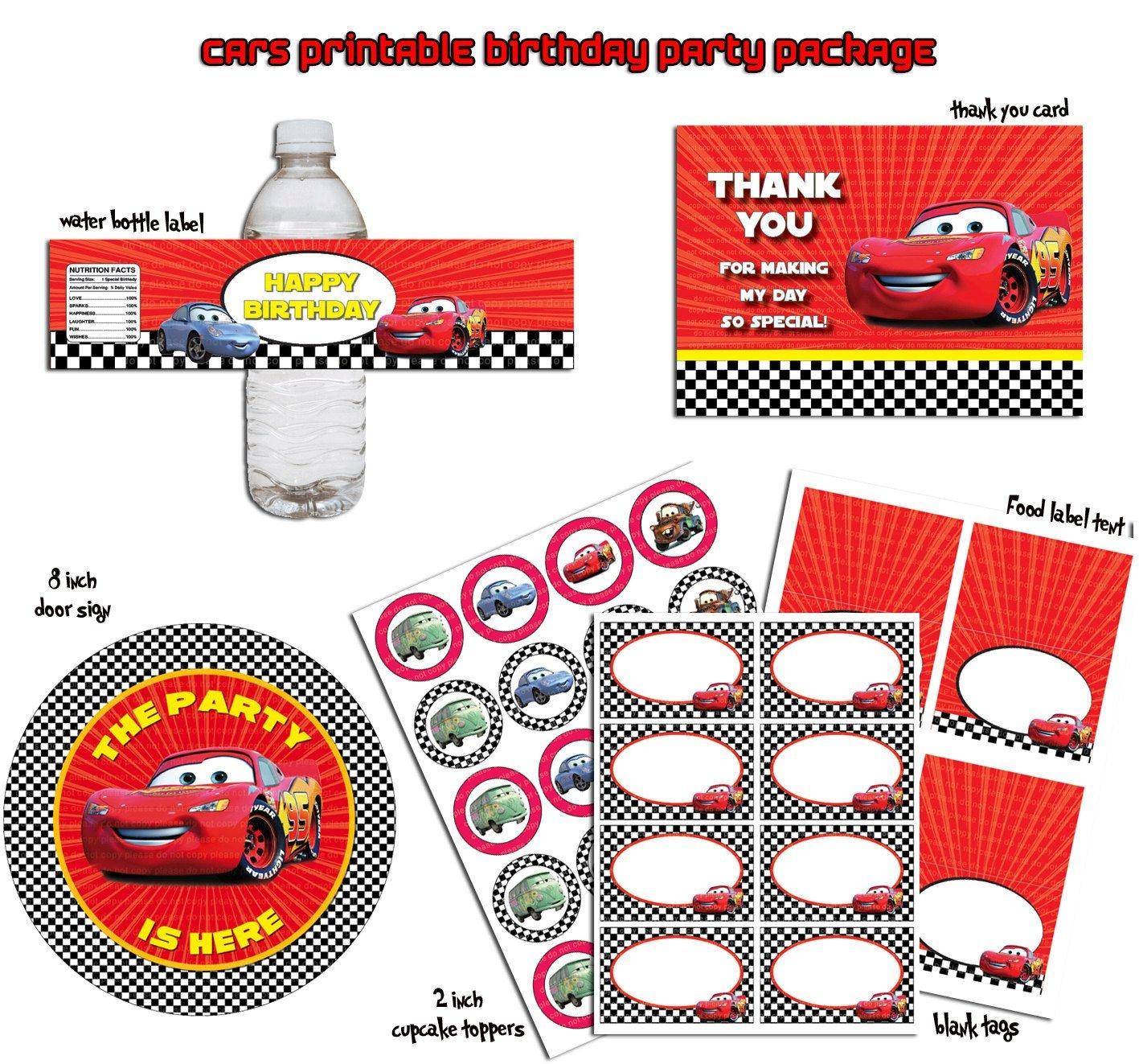 Lightning Mcqueen Disney Cars- Printable Birthday Party Package - Free Printable Disney Cars Water Bottle Labels