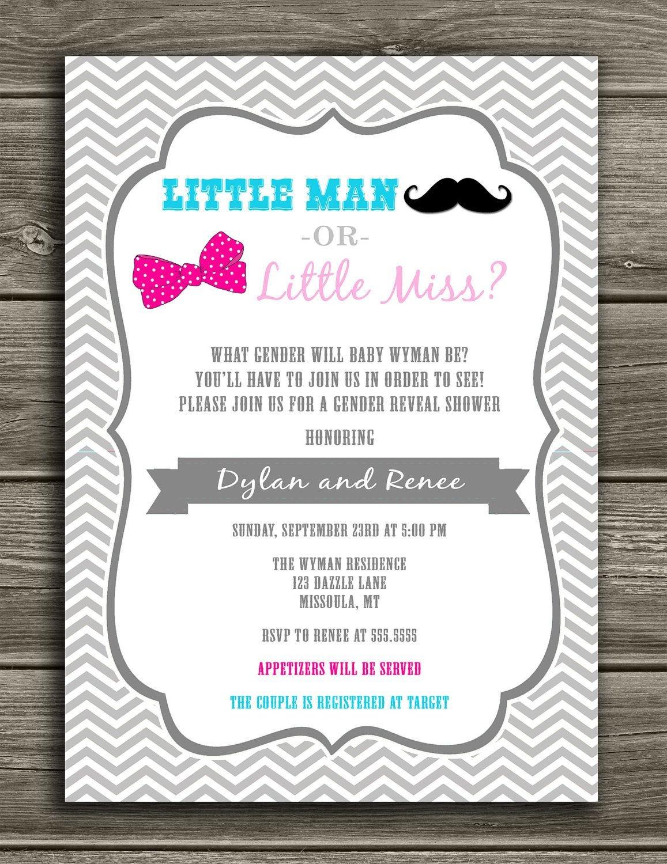 Little Man Or Little Miss - Gender Reveal Invitation $15.00   Gender - Free Printable Gender Reveal Invitations