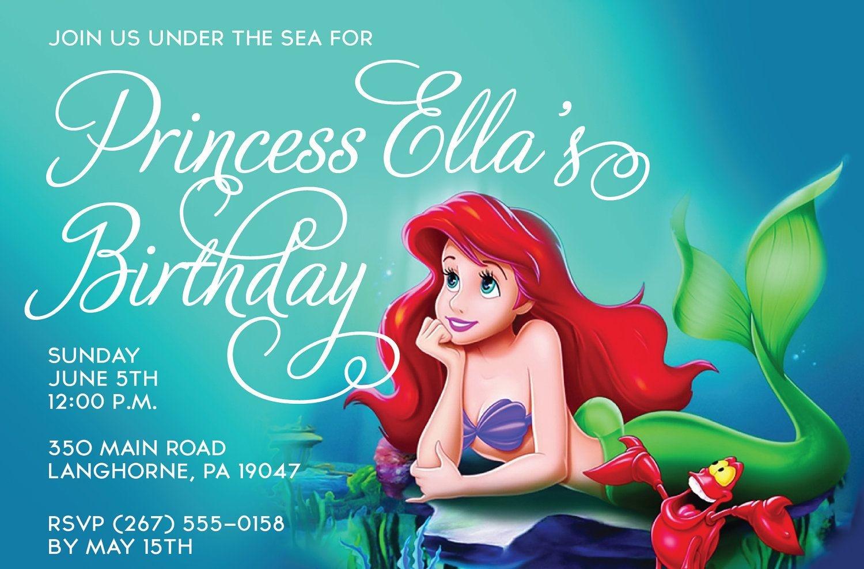 Little Mermaid Free Printable Birthday Invitations   The Little - Free Little Mermaid Printable Invitations