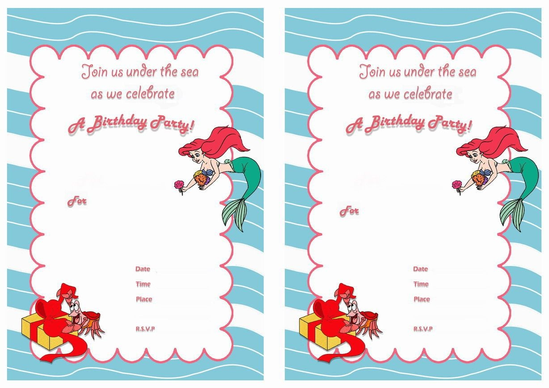 Little Mermaid Free Printable Birthday Party Invitations | Birthday - Free Little Mermaid Printable Invitations