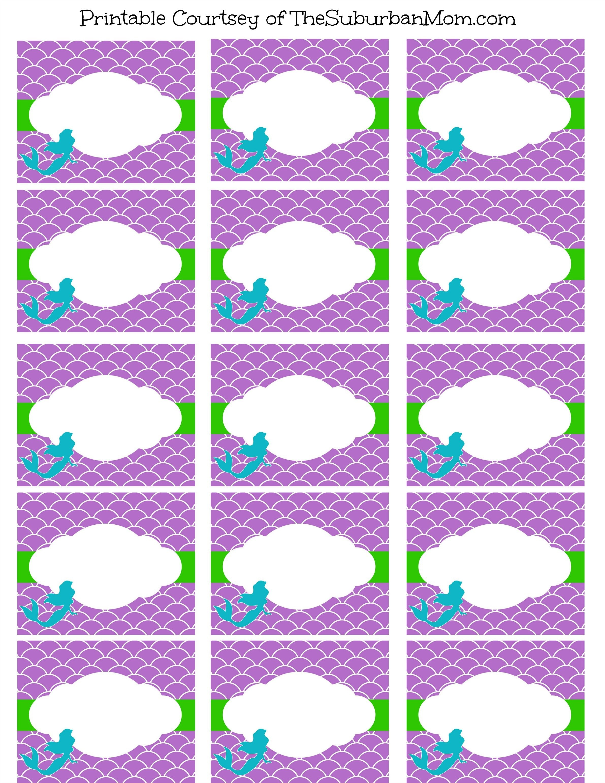 Little Mermaid Party Food Labels Free Printables …   Party   Merma… - Free Printable Little Mermaid Water Bottle Labels