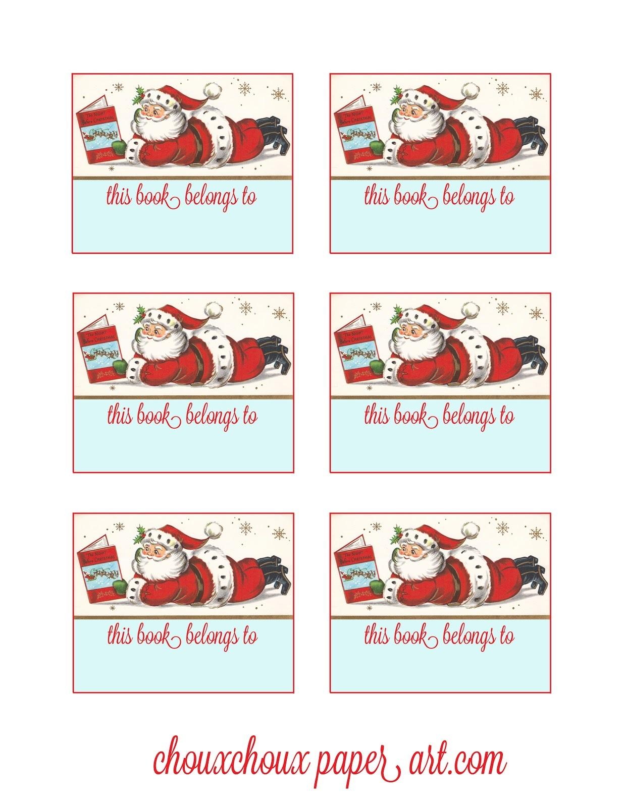 Lori Hairston: Santa Book Plates - Free Printable Christmas Bookplates
